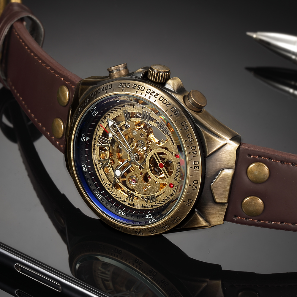 HTB1H9eOXtfvK1RjSspfq6zzXFXa2 Steampunk Bronze Automatic Watch Men Mechanical Watches Vintage Retro Leather Transparent Skeleton Watch Man Clock montre homme