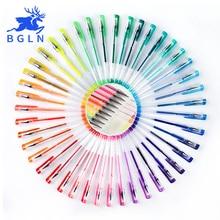 Bgln 24/48/60/100 색상 젤 펜 세트 리필 젤 잉크 펜 금속 파스텔 네온 반짝이 스케치 드로잉 컬러 펜 아트 편지지
