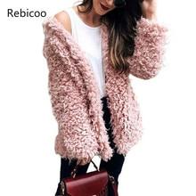 цены на Winter Grey Wool Overcoat Warm Outerwear Women Pink Faux Fur Coat Turn Down Collar Long Sleeve Cardigan Female Outwear  в интернет-магазинах