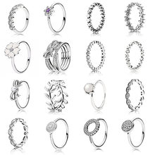 Charms Ring Diy Crystal Flower Pearl Rings Fit Women Wedding Ring with Original 925 Silver Ring Pave Logo Jewelry(China)