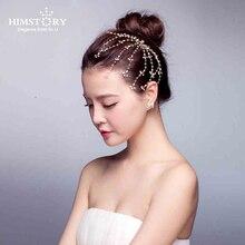 Himstory Rinestone Hairstick Bride Clump Handmade Vines Pearl Sweet Holiday Hairpins Wedding Hairsticks Hair Accessories