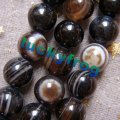 (Min. order $9 mix order) 8mm 95pcs/lot black Banded Stripe Agate Round Loose Beads wholesale