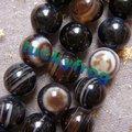 (Min. order $9 orden de la mezcla) 8mm 95 unids/lote negro Con Banda Stripe Agate Granos Flojos Redondos venta al por mayor