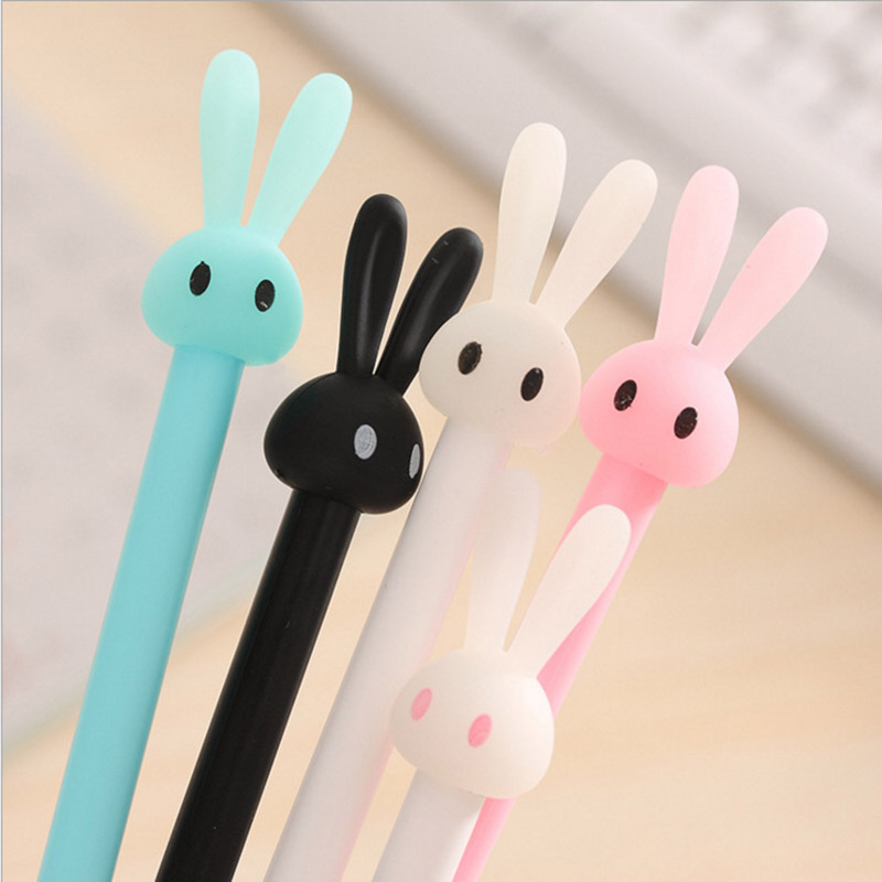 4 pcs/lot 0.5mm Cute Kawaii Plastic Gel Pens Cartoon Rabbit Pen For Kids Stationery Gift School Supplies Student 3901