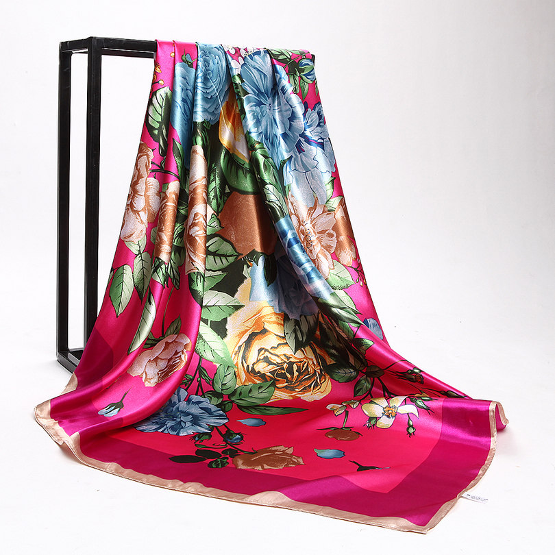 Дизайн женский Шелковый большой квадратный шелковый шарф из полиэстера, 90*90 см горячая Распродажа атласный шарф с принтом для весны, лета, осени, зимы - Цвет: peony pink