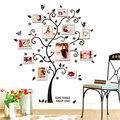 Chic Preto Família Photo Frame Árvore Flor Da Borboleta Do Coração Adesivo de Parede sala de estar Home Decor Decalques Adesivo De Parede