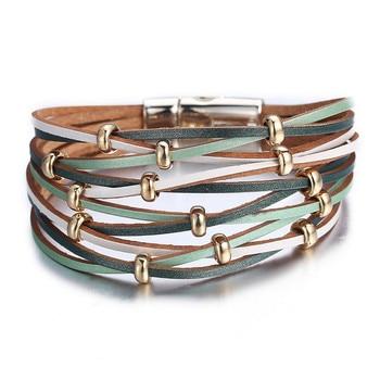 Fashion Wrap Couples Bracelet For Women Men Multiple Layers Leather Bracelets 3