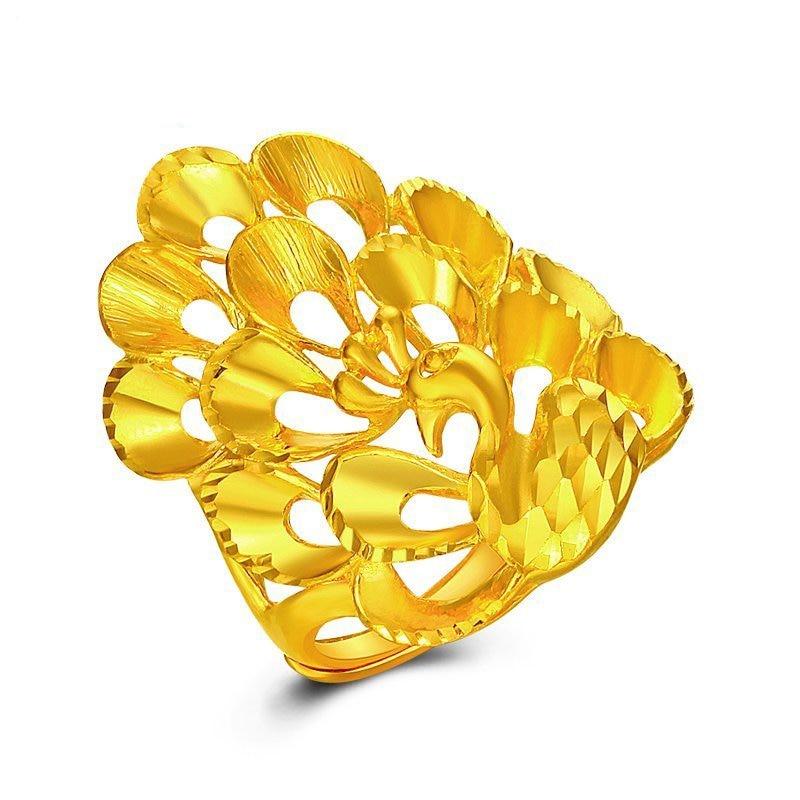 Bague en or jaune 24 K massif Extravagant femmes bague paon or lourd 10.78g