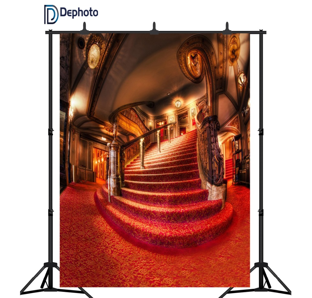 DePhoto wedding photography background palace red carpet vintage stair professional backdrops photobooth photo studio