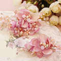 handmade white pink flower crystal hair pins clips wedding accessories bridal jewelry rhinestone hairpins T474