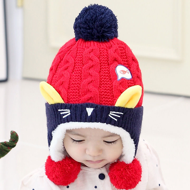 77da5299da2 Cute Baby Winter Hat Warm Infant Beanie Cap For Children Boys Girls Animal  Cat Ear Kids Crochet Knitted Hat-in Hats   Caps from Mother   Kids on ...