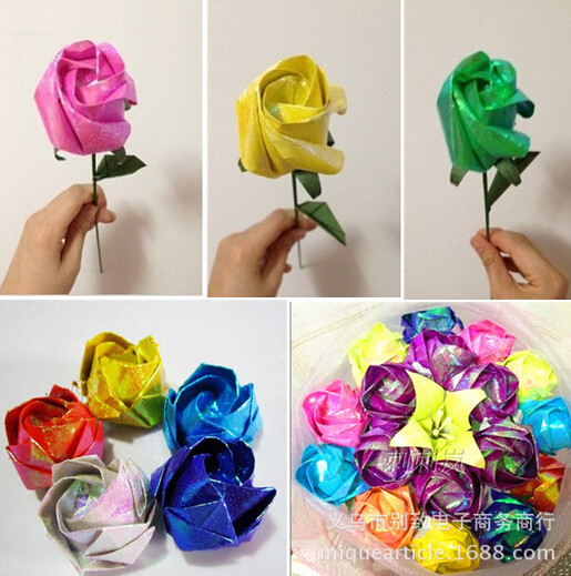 10pcslot 50cm X 70cm Origami Paper For Diy Handmade Rose Mixed