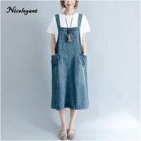 Nicelegant Plus Size 2018 Summer Women Elegant Vintage Preppy Strap Jean Sundress Ladies Female Big Denim
