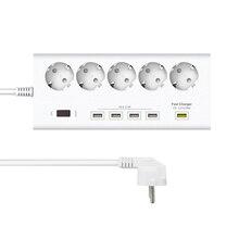 Venta caliente de 5 Puntos de venta de 4 Puertos USB Del Zócalo de Pared Enchufe de LA UE Regleta de alimentación 250 V 16A Interruptor de Enchufes de Extensión Cable de alimentación Enchufe Tira adaptador