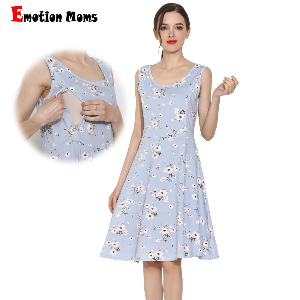 2019 Emotion Moms Summer Maternity Dress Cotton Stretch Floral Breastfeeding Sleeveless Lactation S-XXL