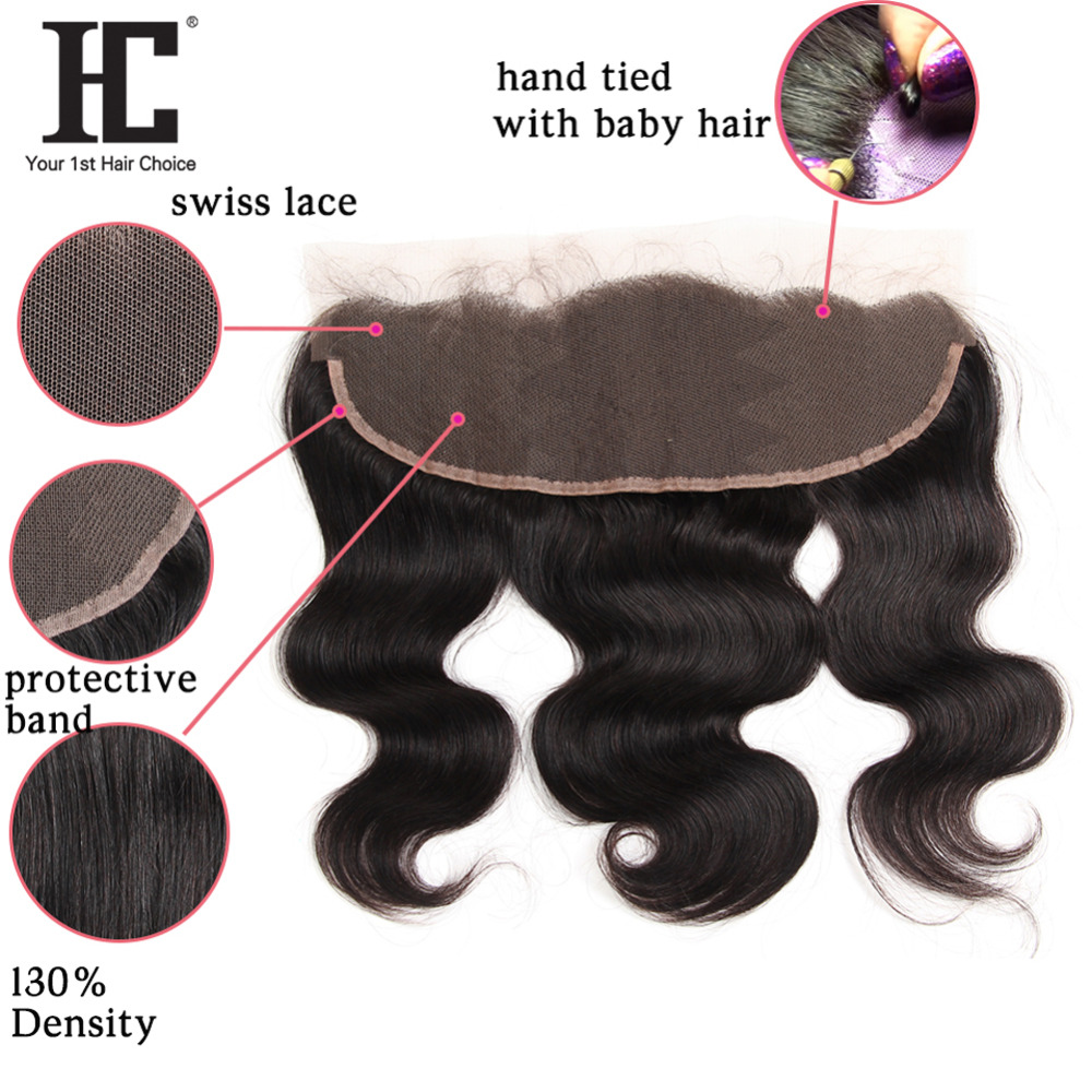 HC Brazilian Body Wave With Frontal Ear To Ear Lace Frontal Closure With Bundles Non Remy Human Hair