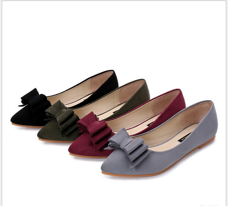 Plus size 34-41 Cute bow Pointed Toe women shoes ballerina flats slip on  free shipping 2017 spring summer new pointed flat flock bow women s shoes work shoes ballerina flats plus size 34 41
