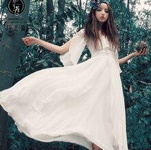 2015แฟชั่นชุดMaxiฤดูร้อนยาวชีฟองSoildผู้หญิงสีขาวแต่งตัวผู้หญิงแขนสั้น50วินาทีวินเทจชุดH-0190