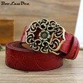 BooLawDee женщина воловьей выбивает цветочные пояс с пряжкой сплава 3.0 ширина 115 длина желтый красный коричневый белый черный кофе 8C019