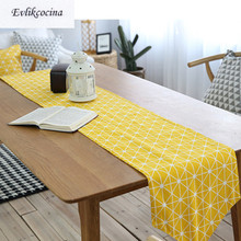 Free Shiping Yellow Geometric Table Runner Decoracion Mesa Hogar Cotton Linen Chemin De Tafelloper For Party Wedding Decor