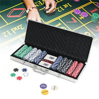 Poker Chip Set 500PCS Chips 5 Dice 2 Playing Cards Game Texas Hold Em Cards With