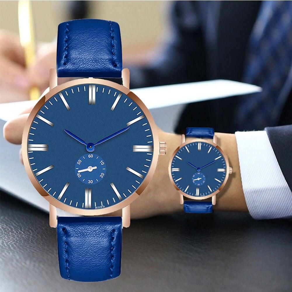 Casual Men Watches Ultra Thin Brand Blue CreativityQuartz Minimalism Simple WristWatch Leather Strap Business Relogio Masculino