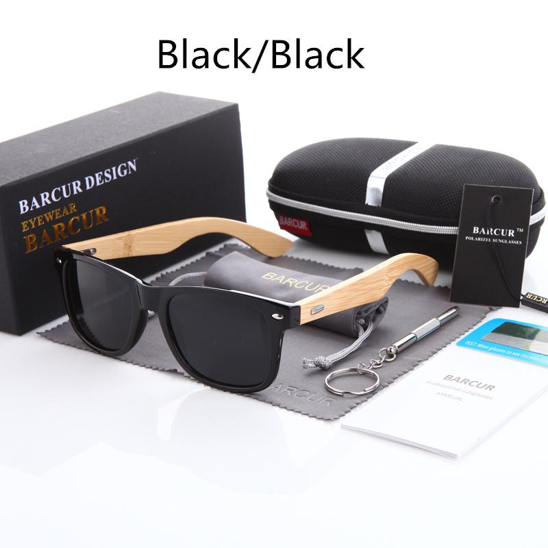 نظارة شمسية للرجال وللسيدات بعدسات بلورايزد واطار خشبي 2