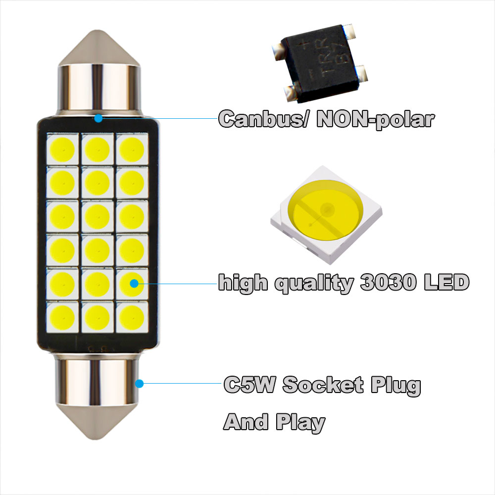 Image 2 - 1PCS Car Festoon Light C5W 31/36/39/41MM 3030 SMD Canbus Error Free Interior Reading Light Dome Bulbs Auto Plate Lamp white 12V-in Signal Lamp from Automobiles & Motorcycles