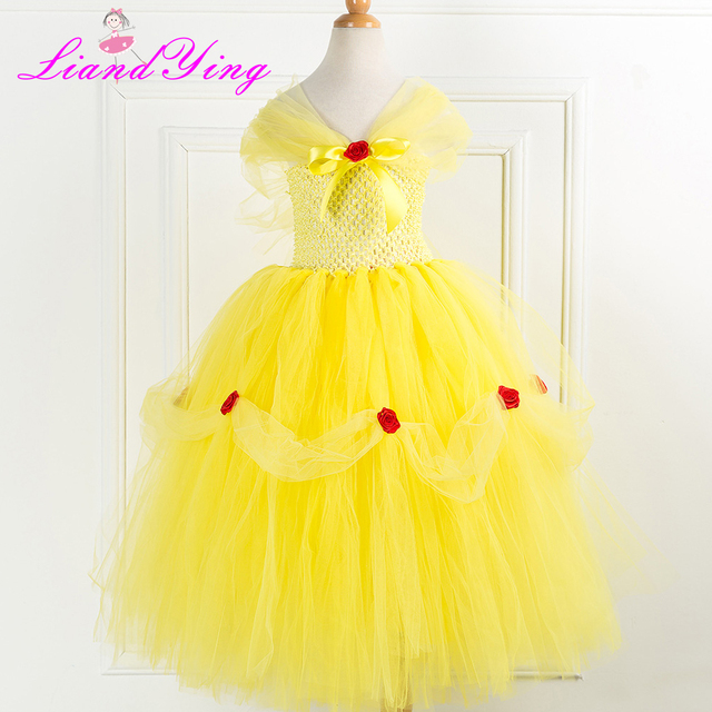 64845d8ec Beautiful Yellow Flower Girl Dress for Wedding Party Coral Flower ...