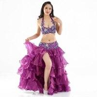 Belly Dance Professional Ăn Mặc Trang Phục Suit Váy + Đai + Bra Stage Hiệu Suất Cưới Bên Phù Hợp Với Evening Dresses Dancewear