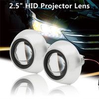 2 Unids 2.5 Pulgadas LHD Coche Motor Mini Bi-xenón/OCULTÓ la Lente Del Proyector ángulo de Los Ojos Lente Halo Retrofit Kit Hi/Lo Haz Bulbo de la Linterna sudario