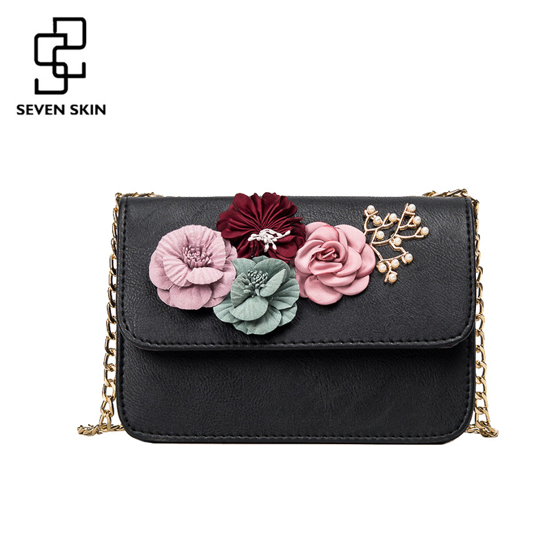 SEVEN SKIN women leather bag female shoulder crossbody bags small women bags flower fashion designers messenger bag with chain 2017 fashion all match retro split leather women bag top grade small shoulder bags multilayer mini chain women messenger bags
