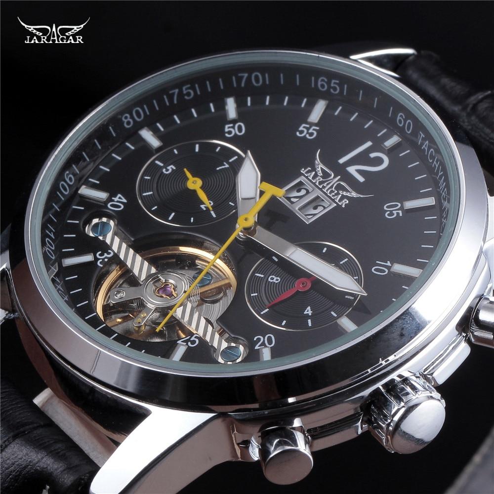 ФОТО Fashion Luxury Brand JARAGAR Fashion Watches Men Crystal 6 Hands Auto Mechanical Men's Watch With Day Week relogio masculino