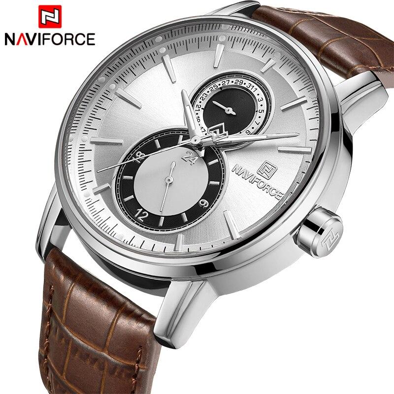 2018 New Men Watch NAVIFORCE Top Brand Luxury Mens Quartz Date Clock Male Leather Business Sport Watches Relogio Masculino
