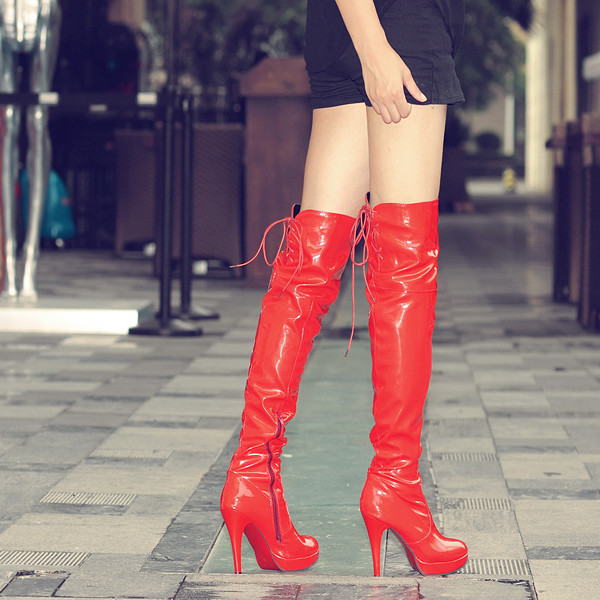 Over Knee Women <font><b>Boots</b></font> <font><b>Sexy</b></font> <font><b>Fetish</b></font> Dance Nightclub Party Shoes <font><b>Extreme</b></font> <font><b>High</b></font> <font><b>Heel</b></font> 11CM Platform Zipper Women <font><b>Boots</b></font> Plus size 34-43 image