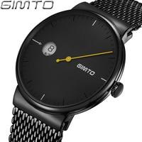 GIMTO Top Brand Creative Men Watch Black Steel Luxury Business Quartz Watches Calendar Male Sport Clock