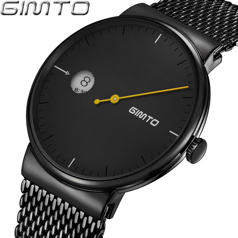 GIMTO Top Brand Creative Men Watch Black Steel Luxury Business Quartz Watches Calendar Male Sport Clock relogio masculino xinge top brand luxury leather strap military watches male sport clock business 2017 quartz men fashion wrist watches xg1080