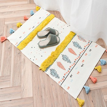Nordic style multi-function 3D pattern cotton knitting rug with tassels  ,decoration bedside rug,cotton bathroom mat S08