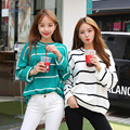 2017 New Autumn Winter Women Casual Sweaters Korean Fashion Hit Color Long Sleeve Stripe Pullovers Jumpers Womens Loose Sweater