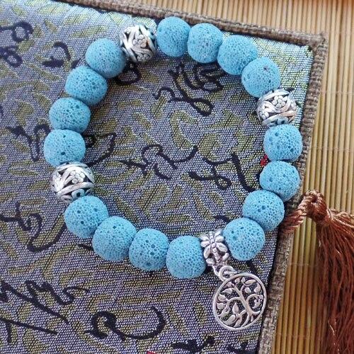 89f8b9726 ( 1 Strand   ) Tibet prata e azul preto Stretchy pulseira 7 polegada de 10  mm jóias ZJ9123