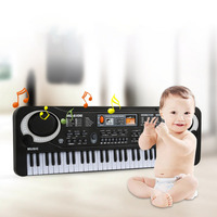 Baby Kids Music Toys Children's Simulation 61 key Black Electronic Organ with a Microphone for 1 8 Years Boy Girls