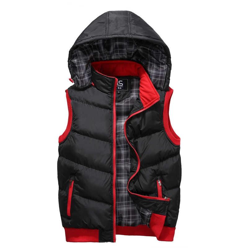 2019 Wordless Men's Winter Hooded Vest High Quality Warm Sleeveless Jackets Mens Hat Detachable Casual Male Vest Coat Big Size