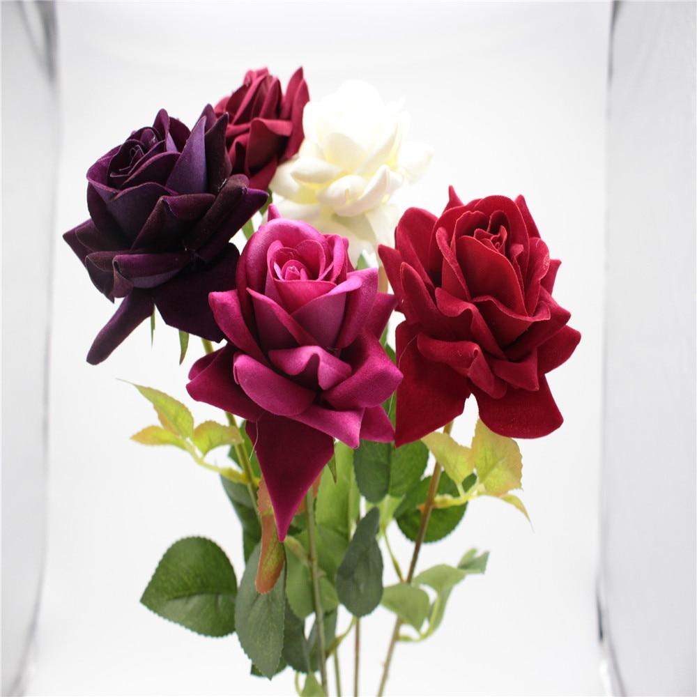 Beautiful Rose Velvet Rose Fake Artificial Flowers home ...