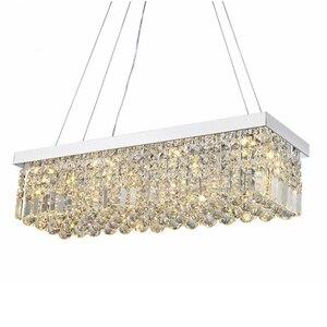 Image 1 - Candelabro de cristal moderno para comedor, candelabro de techo rectangular mangic