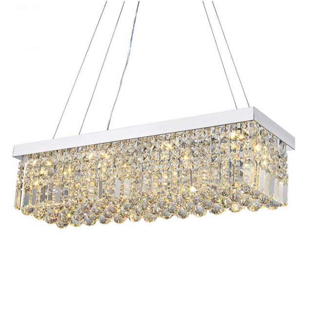 Candelabro de cristal moderno para comedor, candelabro de techo rectangular mangic