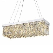Yeni Modern kristal avize yemek odası için dikdörtgen tavan avize Manggic