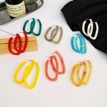 European Style Irregular Geometric Colorful Hoop Earrings for Women Vintage Hyperbole Green Pattern Earrings New Jewelry