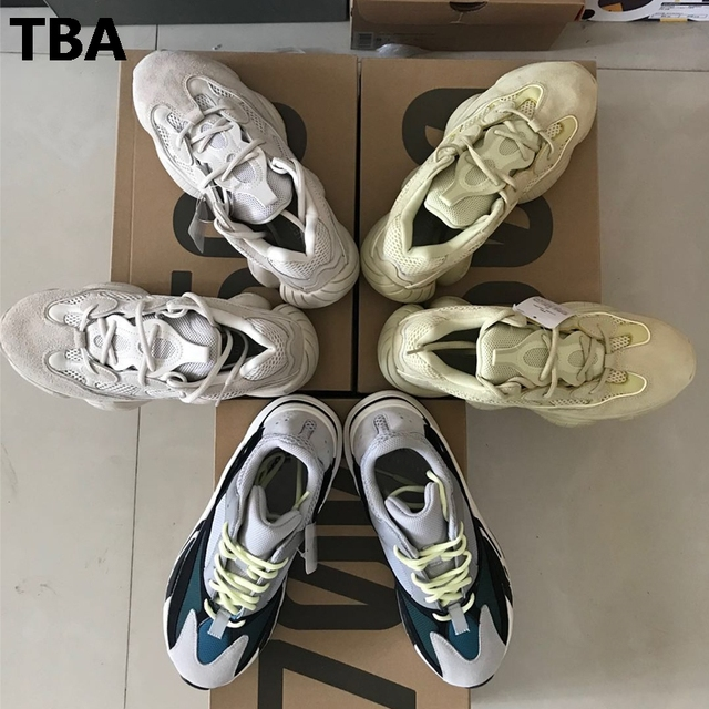 2fbdb4e42bb5 New 2018 Hot Kanye West Desert Rat 500 700 Super Moon Yellow Men Women Wave  Runner Running Shoes Sneakers Authentic Quality