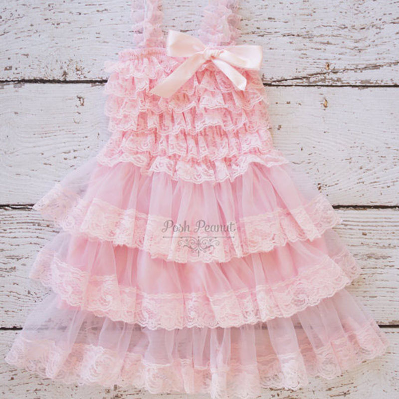 c6516afb2 Vintage Inspired Blush Pink Flower Girl Dress Rustic Beach Lace Girl ...