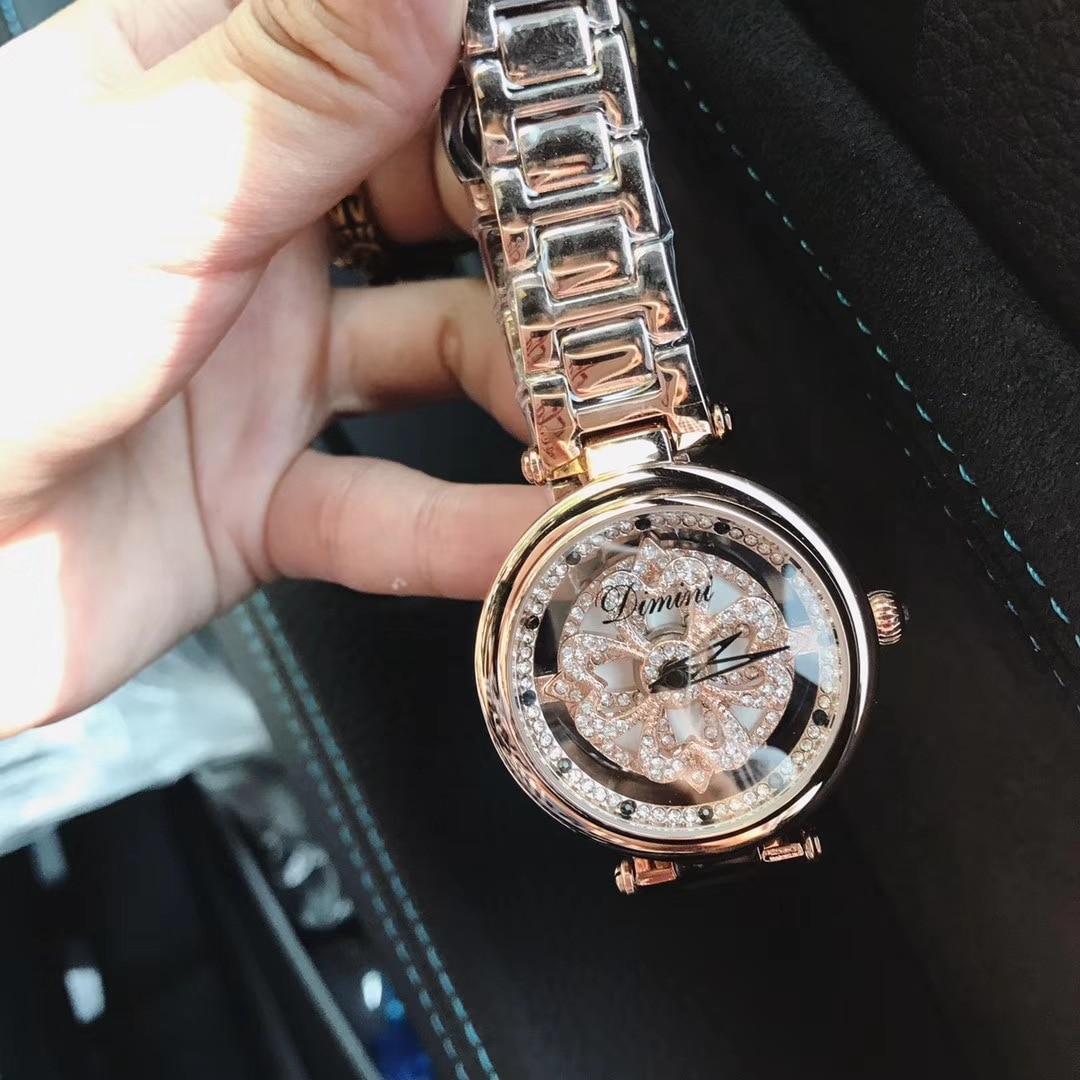 2018 Women Rhinestone Watches Lady Rotation Dress Watch Brand Stainless Steel Band Big Dial Bracelet Wristwatch Crystal Watch все цены
